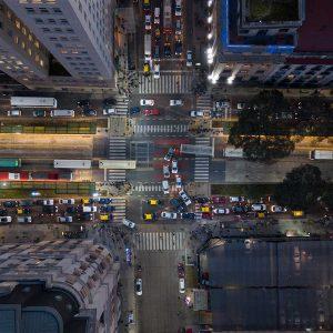 Stadtlandschaftsfotografie - Kreuzung zur Hauptverkehrszeit - Buenos Aires