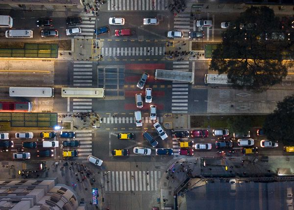 Intersection during rush hour - Av. Alem and Corrientes - Buenos Aires