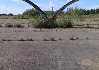verlassene Säule von einem Basketballplatz